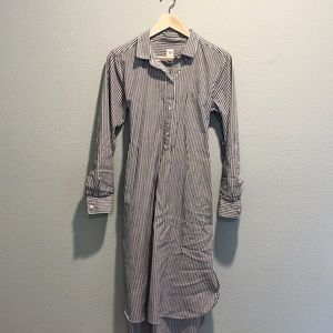 Grey and White Striped Shirt Dress with Tie Waist